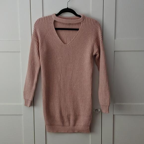 ❄️ 3/$25 Pink Knit Collar Sweater Dress